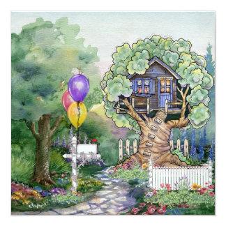 Invitación de la casa en el árbol invitación 13,3 cm x 13,3cm