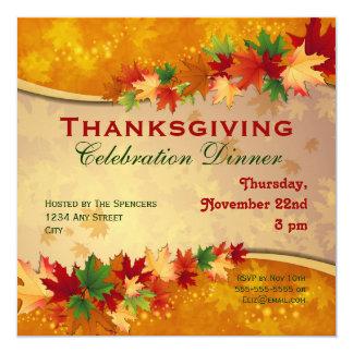 Invitación de la cena de la acción de gracias invitación 13,3 cm x 13,3cm