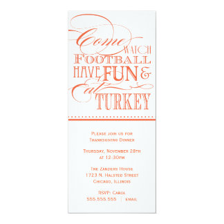 Invitación de la cena de la acción de gracias de invitación 10,1 x 23,5 cm