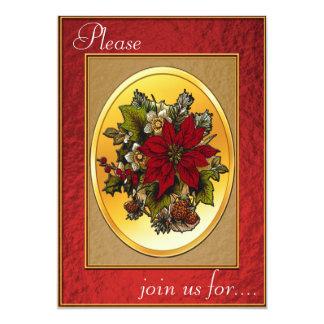 Invitación de la cena de navidad - Poinsettia