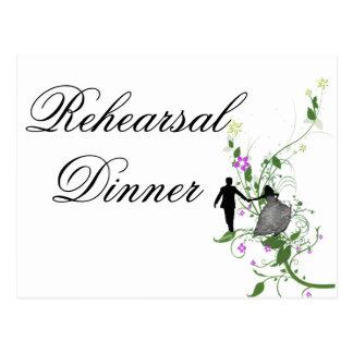 Invitación de la cena del ensayo del boda floral postal