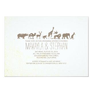Invitación de la cena del ensayo del safari del