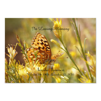 Invitación de la ceremonia conmemorativa, mariposa