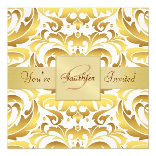 Invitación de la cinta de la hoja de oro del damas