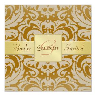 Invitación de la cinta del oro del damasco del oro