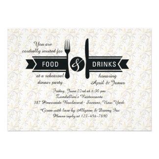 Invitación de la comida y de las bebidas