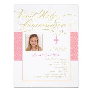 Invitación de la comunión de la foto del chica invitación 10,8 x 13,9 cm