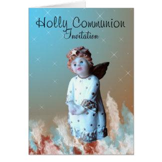 Invitación de la comunión del acebo tarjeta pequeña