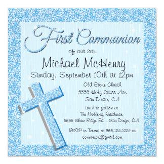 Invitación de la comunión del azul de la