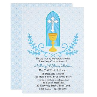 Invitación de la comunión del azul de la cáliz y