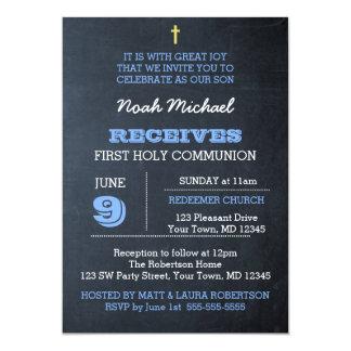 Invitación de la comunión del azul de la pizarra