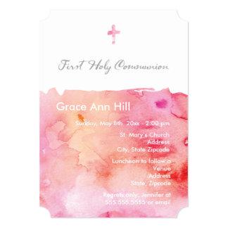 Invitación de la comunión del chica de la acuarela invitación 12,7 x 17,8 cm