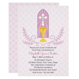 Invitación de la comunión del rosa de la cáliz y