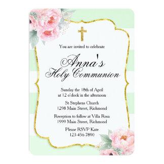 Invitación de la comunión del rosa, de la menta y