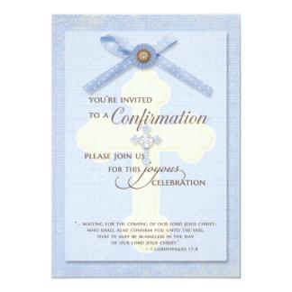 Invitación de la confirmación - azul con la cruz y