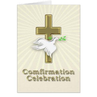 Invitación de la confirmación con una cruz de oro tarjeta de felicitación