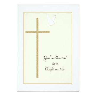 Invitación de la confirmación -- Cruz y paloma Invitación 12,7 X 17,8 Cm