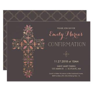 Invitación de la confirmación - el oro, cruz
