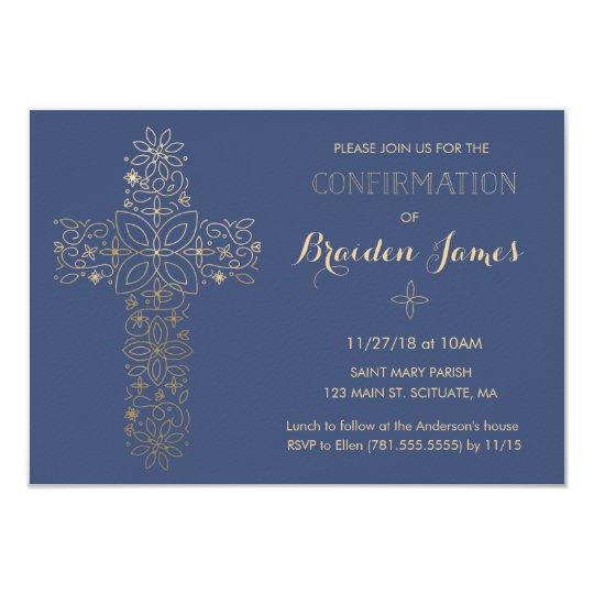 Invitación de la confirmación - la cruz del oro