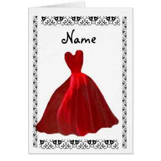 Invitación de la DAMA DE HONOR - vestido ROJO del  Tarjetas