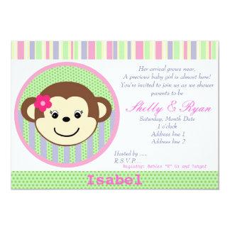 Invitación de la ducha de la niña del mono