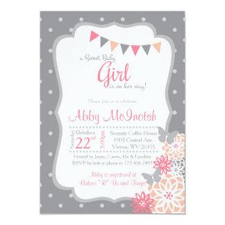Invitación de la ducha de la niña en polkadots