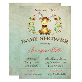 Invitación de la ducha de los alces del bebé