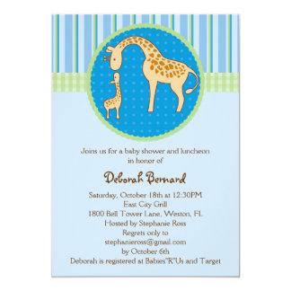 Invitación de la ducha del bebé de la jirafa de la