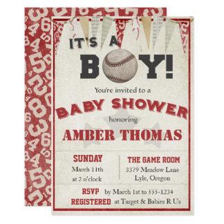 Invitación de la ducha del bebé del béisbol