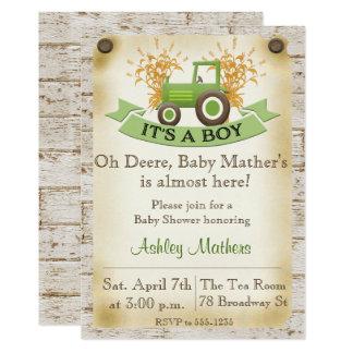 Invitación de la ducha del bebé - tractor verde