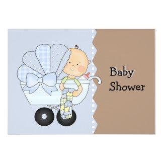Invitación de la ducha del carro de bebé azul
