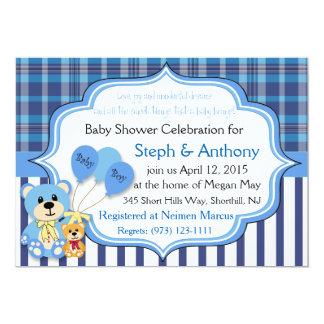 Invitación de la ducha del oso del bebé invitación 12,7 x 17,8 cm