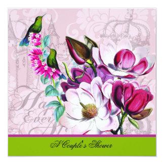 Tarjeta Invitación de la ducha del par de las magnolias de