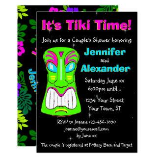 Invitación de la ducha del par del fiesta de Tiki