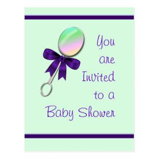 Invitación de la ducha del traqueteo del bebé y postal
