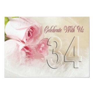 Invitación de la fiesta de aniversario por 34 años invitación 12,7 x 17,8 cm