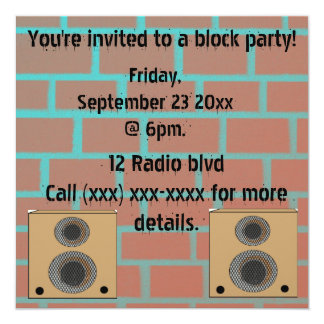Invitación de la fiesta de barrio invitación 13,3 cm x 13,3cm