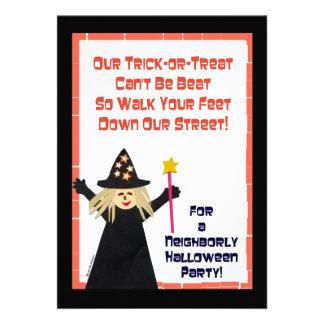 Invitación de la fiesta de barrio de Halloween