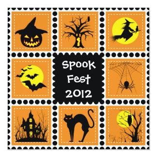 Invitación de la fiesta de barrio de Halloween Invitación 13,3 Cm X 13,3cm