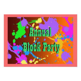 Invitación de la fiesta de barrio de la salpicadur