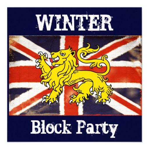 Invitación de la fiesta de barrio del invierno de