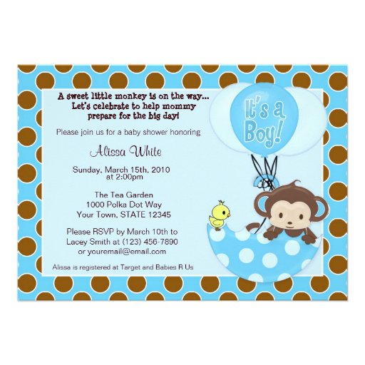 Monkey Shower Invitations with great invitations template