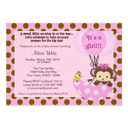 Monkey Shower Invitations is luxury invitation sample