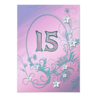 Invitación de la fiesta de cumpleaños 15 años invitación 12,7 x 17,8 cm