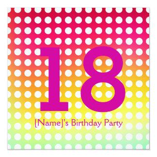 Invitación de la fiesta de cumpleaños 18 invitación 13,3 cm x 13,3cm