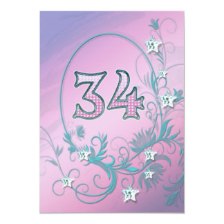 Invitación de la fiesta de cumpleaños 34 años invitación 12,7 x 17,8 cm