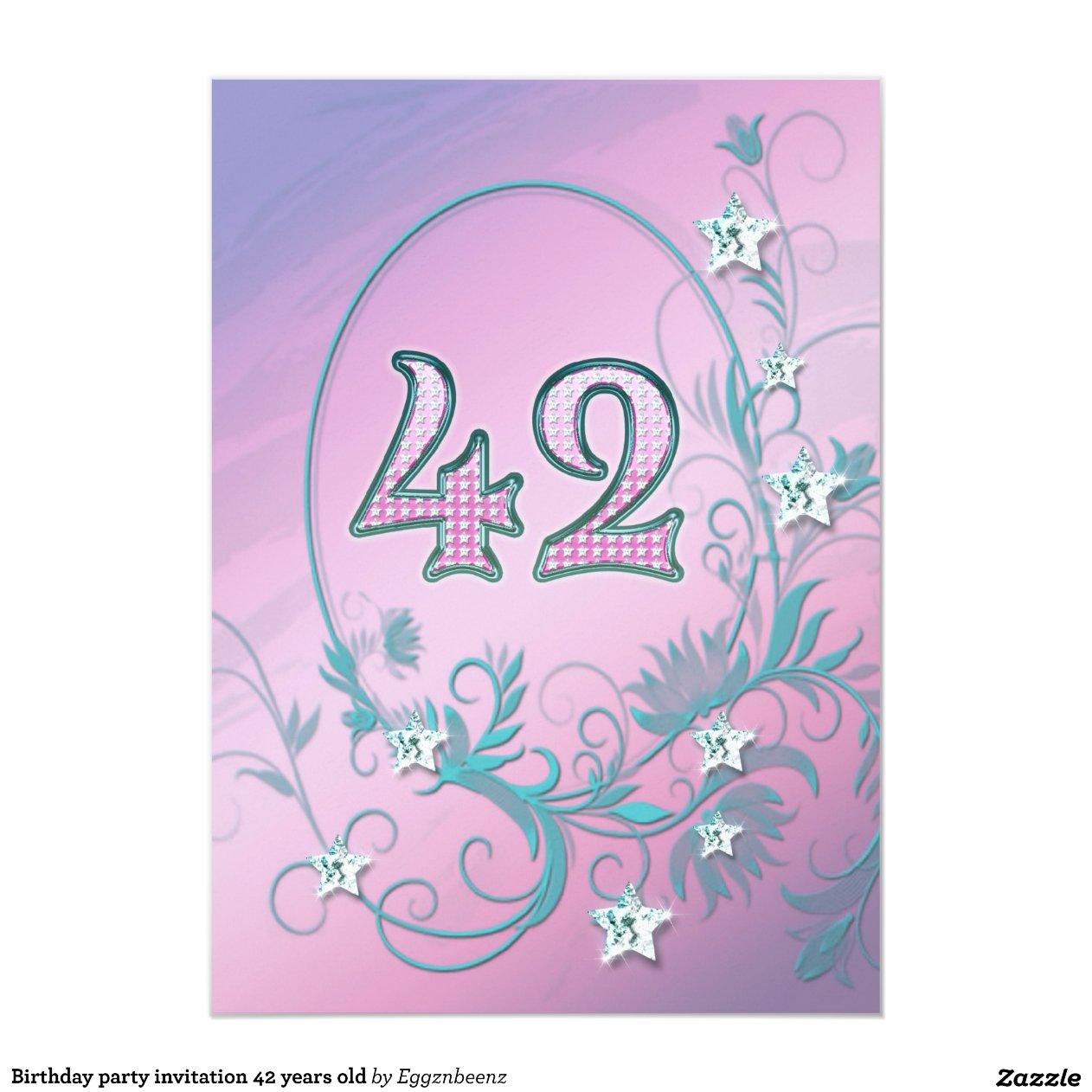Invitaci n de la fiesta de cumplea os 42 a os zazzle - Fiesta cumpleanos 8 anos ...