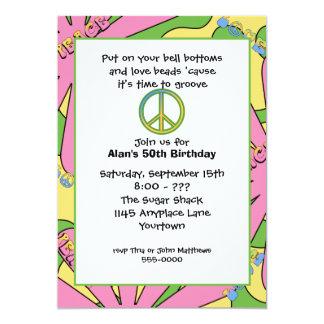 invitación de la fiesta de cumpleaños 60s invitación 12,7 x 17,8 cm