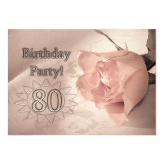 Invitación de la fiesta de cumpleaños 80 años invitación 12,7 x 17,8 cm