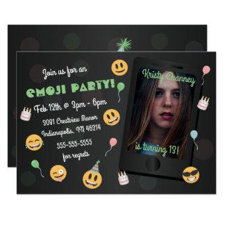 Invitación de la fiesta de cumpleaños de Emoji de